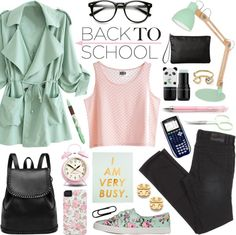 Back to School: Fall Jacket in mint green, stationery in pink and gold and accessories from The Dorothy Days blog