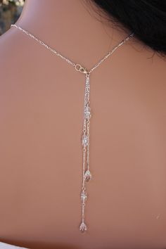RHINESTONE  BRIDAL  NECKLACE  with Back by LalleBridalJewelry, $75.00