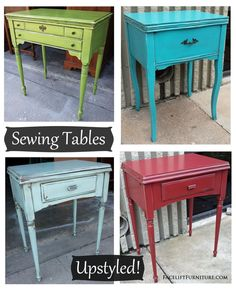 Upstyled Sewing Tables painted, glazed & distressed in Lime Green, Turquoise, Robin's Egg Blue, and Chili Pepper Red. Find more inspiration on our Pinterest boards, or on the Facelift Furniture DIY blog.