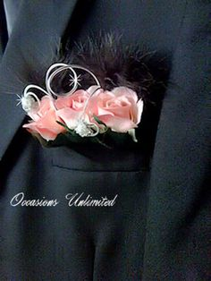 Flower Pocket Square    Boutonniere for Wedding or Prom flowers by OccasionsUnlimited