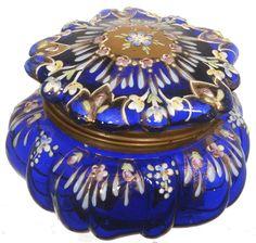 COBALT BLUE ART GLASS ROUND HINGED JEWEL BOX WITH ENAMEL FLORAL DECOR