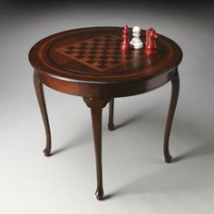 Butler Plantation Cherry Round Game Table   Chess Tables At Hayneedle
