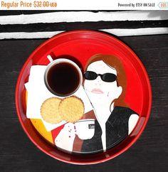ON SALE 30% OFF Retro Vintage Coffee Tray, Costadora Caffe; Espresso Bistro Serving Tray; Coffee Shop Decor by harbor17 on Etsy