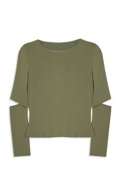 Primark - Khaki Cut Out Elbow Top