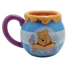 From Disney's Winnie The Pooh! Pooh enjoys his hunny as much as you enjoy your morning brew! Handpainted glazed ceramic mug holds 20 oz. Cute as a decorative accent! Disney Winnie The Pooh, Winnie The Pooh Mug, Pooh Bear, Disney Coffee Mugs, Cute Coffee Mugs, Cool Mugs, Coffee Cups, Eeyore, Tigger