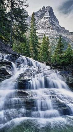 Magnificent Nature - Waterfall in Glacier National Park, Montana, USA All Nature, Amazing Nature, Beautiful Waterfalls, Beautiful Landscapes, Places To Travel, Places To See, Travel Destinations, Places Around The World, Around The Worlds