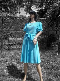 Vintage Light Blue Ruffle Sleeve Tie Waist Dress by VBombVintage, $20.00