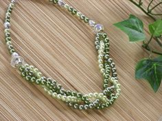 Green Pearl Necklace 3 Strand Braided MInt by NonasJewelryShop, $24.00