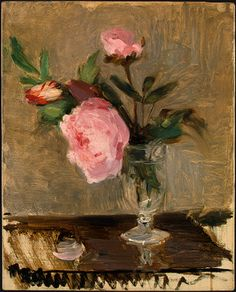 Berthe Morisot.  Peonies.  Berthe Morisot was among the few women in the original French Impressionist circle.