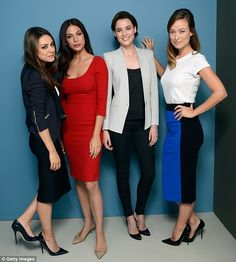 The whole gang: Mila (left) poses with her Third Person co-stars Moran Atias, Loan Chabanol and Olivia Wilde