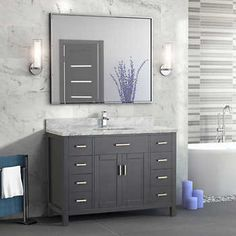 Studio Bathe Kalize II 48 Pepper Grey Single Vanity with Metal Framed Mirror Costco or with counter and mirror. Luxury Bathroom Vanities, Gray Vanity, Bathroom Sconces, Single Sink Bathroom Vanity, Bathroom Renos, Bathroom Remodeling, Master Bathroom, Small Grey Bathrooms, 48 Vanity