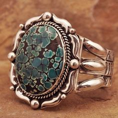Turquoise Jewelry Ring Sterling Silver handmade Turquoise cuff Bracelet by James Pioche Pierre Turquoise, Turquoise Cuff, Turquoise Bracelet, Jewelry Gifts, Jewelery, Jewelry Accessories, Bridal Jewelry, Bijoux Design, Jewelry Design