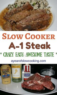 Steak Sauce and Dijon mustard come together to make a delicious sauce that the steak pieces simmer in all day in your crockpot slow cooker. Everything here is naturally gluten free. If you don't wa (Crockpot Recipes Cheap) Crockpot Steak Recipes, Chuck Steak Recipes, Slow Cooker Recipes, Crockpot Recipes, Cooking Recipes, Steak In The Crockpot, Healthy Recipes, Cooking Tips, Vegetarian Food