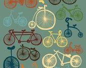 "Bicycles Print Art ""I LOVE BIKES"" 11x14 Blue, Orange & Yellow Modern Art Bike Poster"