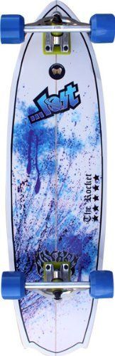 """Lost Rocket 34"""" Blue Splatter Complete Longboard by Lost. $129.60. Lost Rocket 34"""" Blue Splatter Complete Longboard - We all want to bring that surf stoke with us when we leave the water after a good session, and now with The Rocket Surfskate we can. Our best selling surfboard in 2009 is now a skateboard! With virtually the same outline (Rocket tail and all) """"Retro"""" deck curves, and a photo-transferred graphic right off an actual surfboard; you can get your Rocket launched wi..."""