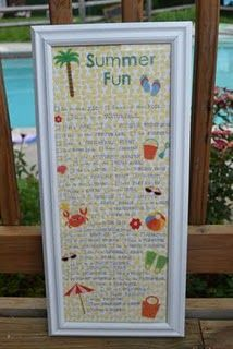 Summer List Idea - wrote list on patterned scrapbook paper w/stickers and place in large frame.