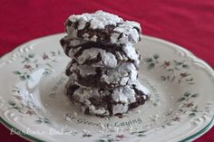 A soft, rich delicious chocolate cookie loaded with chocolate chips and tart dried cherries. It's rolled in powdered sugar so there is a beautiful contrast between the crackled white outside and dark chocolatey inside.