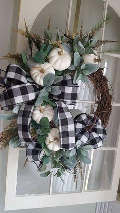 Fall Farmhouse wreath, farmhouse door wreath,white pumpkin wreath,elegant halloween wreath,buffalo c Fall Home Decor, Autumn Home, Pumpkin Wreath, Wreath Fall, Fall Door Wreaths, Autumn Wreaths, Ribbon Wreaths, Grapevine Wreath, Seasonal Decor