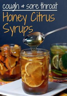 DIY Honey Citrus Syrups will cure a sore throat naturally. Flu Remedies, Herbal Remedies, Health Remedies, Sore Throat Remedies, Holistic Remedies, Natural Medicine, Herbal Medicine, Cough Medicine, Homemade Syrup