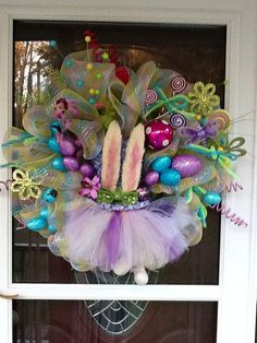 Deco Mesh Easter Bunny Wreath by WreathsEtc on Etsy.