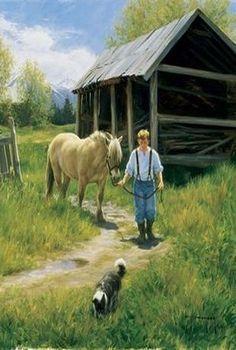 Robert Duncan Farm Paintings, Country Paintings, Great Paintings, Robert Duncan Art, Farm Images, Crazy Sister, Dog Artist, Romantic Paintings, Farm Art