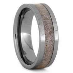 Natural Shed Deer Antler Ring With Tungsten Band, Size 12.25-RS9393