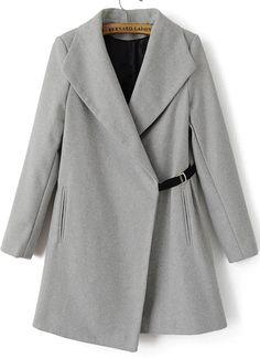 Grey Lapel Long Sleeve Woolen Trench Coat 54.67