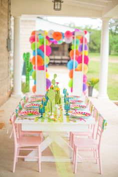 Guest table from a Cactus & Candy Summer Soiree on Kara's Party Ideas | KarasPartyIdeas.com