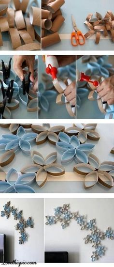 DIY toilet paper rolls wall decor. I would do royal blue and coral or teal and dark grey.