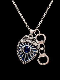 Blue Police Shield Badge Handcuffs Gift For Officer LEO Charm Necklace Handcuff Necklace, Bullet Necklace, Lariat Necklace, Initial Necklace, Earrings, Hand Jewelry, Cross Jewelry, Kids Jewelry, Police Jewelry