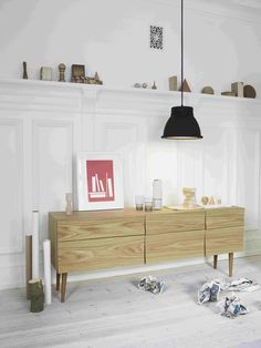 Muuto - Reflect sideboard, designed by Soren Rose, in a setting with Studio lamp by Thomas Bernstrand.