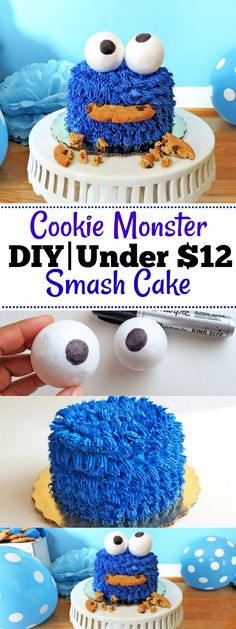 DIY Cookie Monster Smash Cake