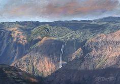 I love Kauai. This is a landscape painting of Waimea Canyon. It's spectacular; full of steep, orange canyons, waterfalls, and jungle veg. Kauai Waterfalls, Waimea Canyon, Busse, Mountain Landscape, Art Blog, Digital Illustration, Landscape Paintings, Travel Photos, Digital Art