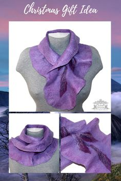 This handmade ruffled neck scarf is a statement for felt fashion! It is a fabulous wearable piece of art! This purple women's scarf is decorated with an embroidery in the shape of leaves. The scarf is felted from the finest wool, it feels very soft on the neck and will come with full washing instructions. Approximate sizes:  length 30 in -78 cm  width 8 in - 20 cm