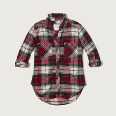 Abercrombie & Fitch Plaid Flannel Shirt ($17) ❤ liked on Polyvore featuring tops, white and red plaid, all-over print shirts, white button up shirt, red shirt, white flannel shirt and flannel shirts