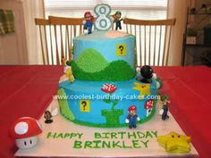 Homemade Super Mario Brothers Birthday Cake: I made this Homemade Super Mario Brothers Birthday Cake for my son's 8th birthday.  I got my inspiration from several other pictures of cakes I found online