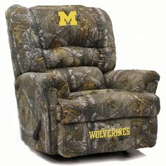 Michigan Wolverines Big Daddy Camo Microfiber Rocker Recliner. Visit SportsFansPlus.com for discount coupon.