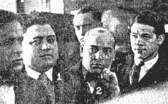 Frankie Yale and Saverio Pollaccia in court in Chicago for the Dean O'Banion murder in 1924.