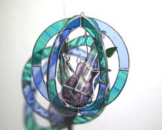 Leaf Song - 3D Stained Glass Sphere by katiediditglass