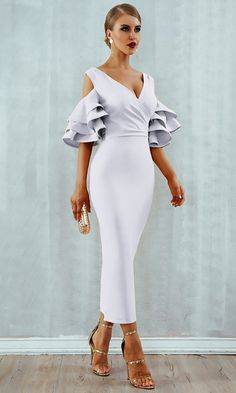 Raised Me Right Elbow Sleeve Ruffle Cross Wrap V Neck Cold Shoulder Bodycon  Midi Dress - 7 Colors Available 166701ac4