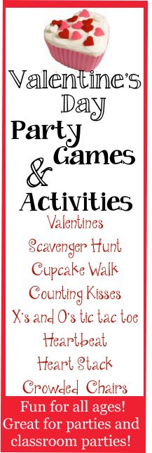 Valentine's Day Party Games and Activities.  Fun Valentine's day themed party games for kids, tweens and teen parties.  Great for classroom parties too!  Valentines Scavenger Hunt with a free item list, Cupcake walk, counting kisses game, x's and o's tic tac toes games, Crowded musical chairs and more!  http://birthdaypartyideas4kids.com/valentinesgames.html  #valentinesday #party #games #kids #teens #classroom #fun #easy #cheap #tweens