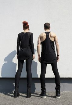Long Black Sweatshirt for Women and Long Tank Top for Men - Fabric: cotton, Menswear, Mens Clothing, Womenswear, Womens Clothing, Black, Style, Streetstyle, Urbanstyle