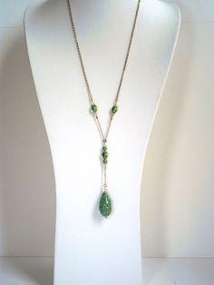 Boho romantic long necklace bright green handmade by kalaniparis