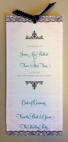Four Layered Wedding Program! Such a fun design and layout for a program!_A to Z Paperie