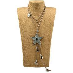 New handmade leather cord five stars Pentagram pendants long necklace