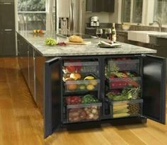 What an incredible idea - integrate bar fridges into the side of your breakfast bar. It looks good and healthy filled with fruit and vegetables, but what really gets us excited is the idea of filling them with beer and wine!