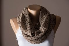 Brown Infinity scarf, Spring Summer Shawl, Gift Ideas, Circle Scarf, Fashion Accessories, Cowl, Wrap, Women's Scarves, Loop Scarf, Fabric