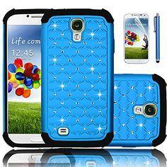 Galaxy S4 Case,EC™ Diamond Rhinestone Bling Case for Samsung Galaxy S4, Hybrid Impact Rugged Case,Heavy Duty Shockproof Sparkle Shimmer Case for Samsung Galaxy S4 (AT&T, Verizon, T-Mobile, Sprint, And All International Carriers) with Screen Protector + Stylus (Light Blue)