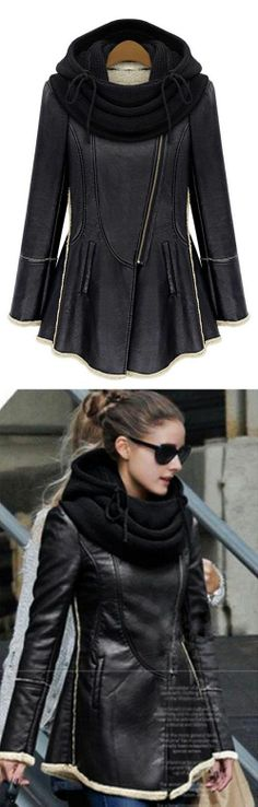 "Black hooded leather coat. Great solution for the ""curvy in the hips"" ladies. #peplum #jackets"