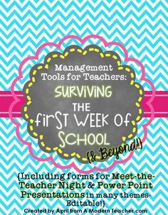 Management Tools for Teachers: Surviving the First Week of School and Beyond, Meet-the-Teacher Night Forms, Checklists, Parent Night Power Point Orientations, $